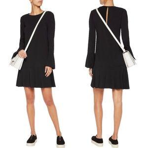 Theory Black Crepe Bell Sleeve Flounce Dress M - 8